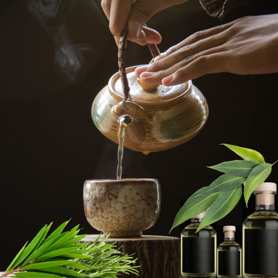 Steam inhalation rosemary tea tree eucalyptus