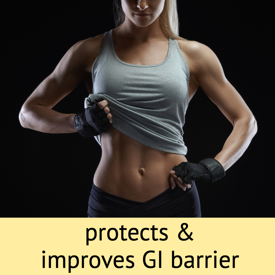 protects & improves GI barrier athletic woman