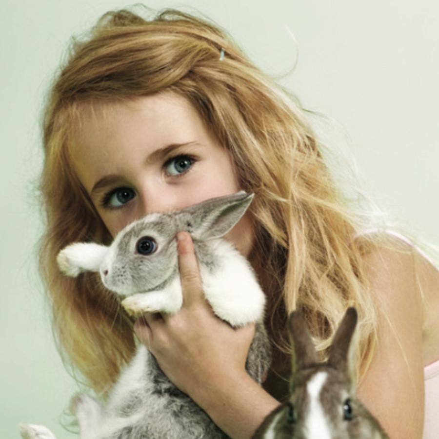 easter girl rabbit hare